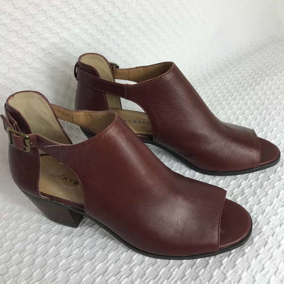 dca9c1f92d0e New Lucky Brand Barimo Leather Peep Toe Booties